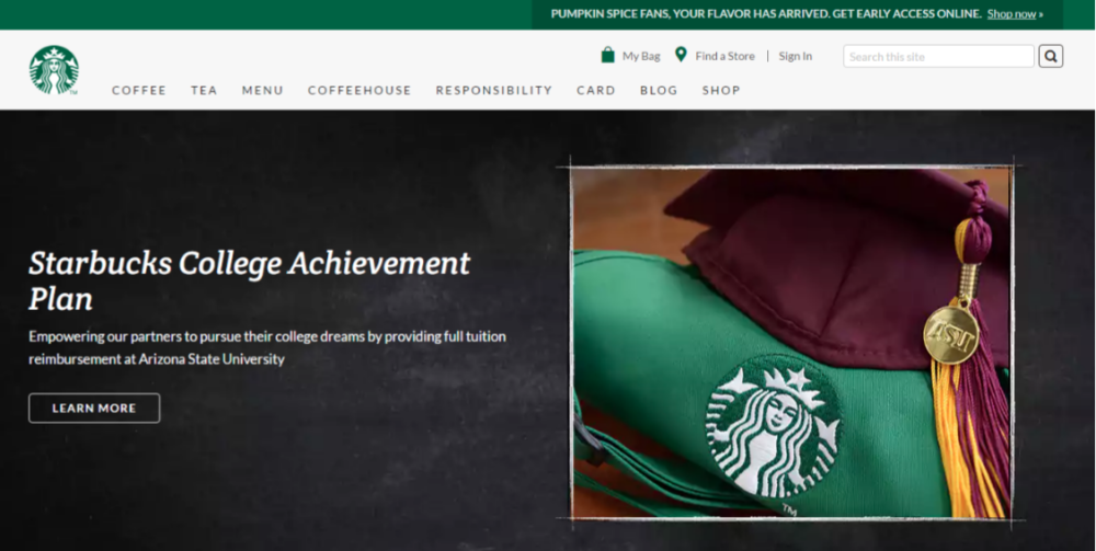 starbucks Website Screenshot logo