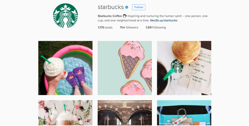 starbucks Instagram page