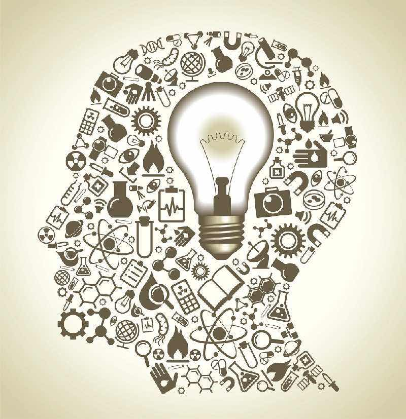 Brain of an entrepreneur ideas light bulb