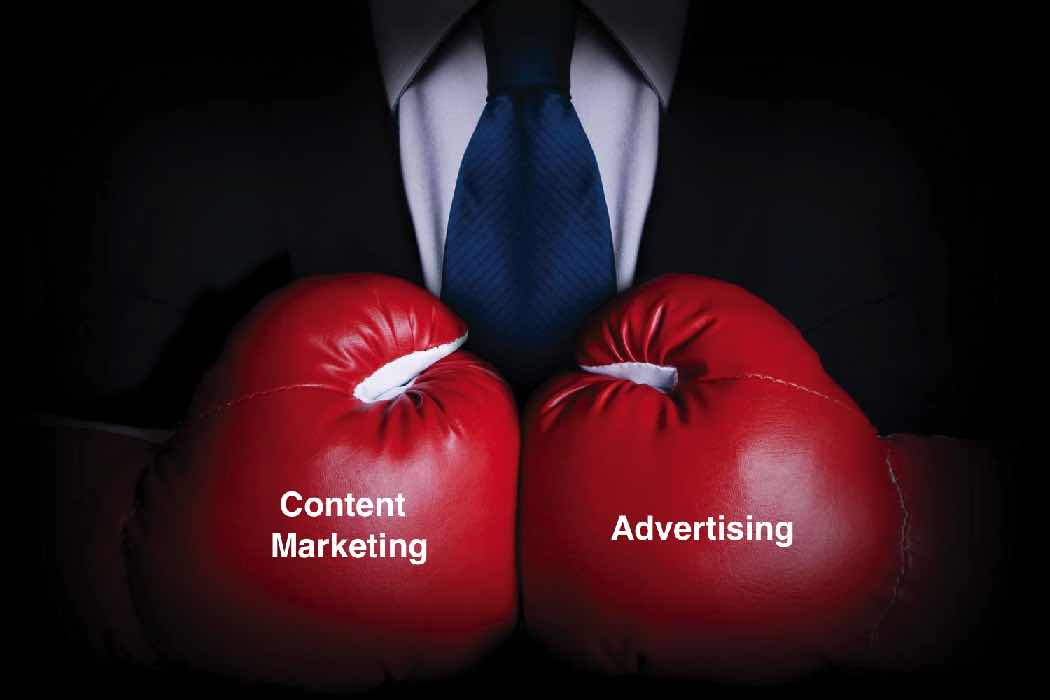 Content marketing vs advertising ads boxing gloves