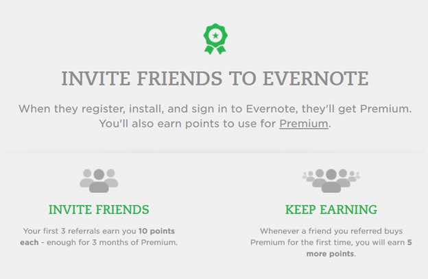 Evernote Invite Friends Referral Marketing Program