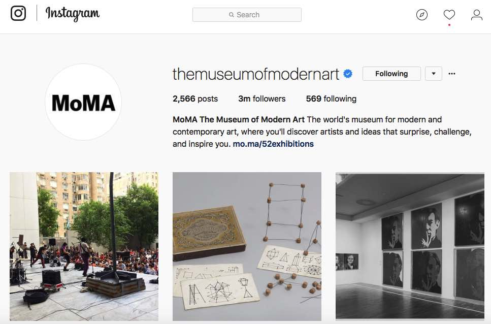 Instagram Moma Screenshot Musem of Modern Art