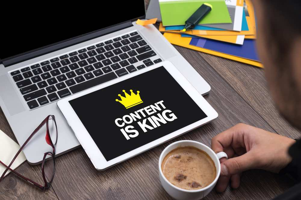 Content is King Laptop Coffee