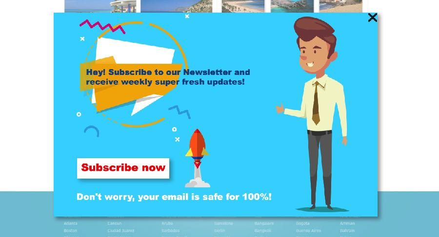 Newsletter subscription Security Popup