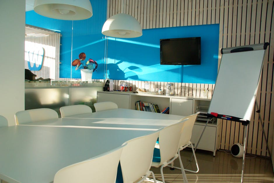 Modern Office Design Blue White